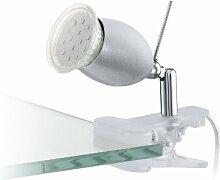 EGLO Klemmleuchte Banny LED, Kunststoff, Stahl 1x GU10 3W LED inklusiv Leuchtmittel, Ein-Aus-Schalter in der Zuleitung/Leuchte schwenkbar durch Gelenk am Sockel, 13 cm, transparent/chrom/silber 93119