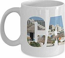 Egoa Ceramic Mug Cancun Beach View Kaffeebecher