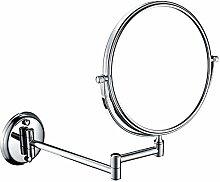 EgoEra® 3x Vergrößerungsspiegel 8 Zoll Doppelseitig, Rund Silber Wandspiegel / Kosmetikspiegel Wandmontage / Badezimmerspiegel / Ausziehbarer Klappspiegel / Rasierspiegel