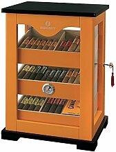 Egoist Premiuem - Zigarren Humidor Schrank aus Holz mit Hygrometer und Befeuchtungssystem für ca. 100 Zigarren I Zigarren-Zubehör - Orange