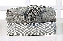 EHC Tagesdecke Luxus Chevron Baumwolle Single Sofa