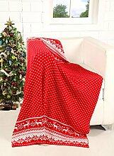 EHC Tagesdecke Luxus Plüsch weich 100% wendbar Festive Xmas Rentier Schneeflocken Sofa Bett Überwurf, 127x 152cm, Polyester-, rot, Single