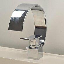 EHTF Kupfer Einhebel Wasserhahn Bad chrom Armatur Badezimmer Waschbecken Waschtischarmatur Wasserfall Einhandmischer für aufsatzwaschbecken,34