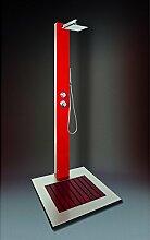 Eichenwald Ideal Kalt & Warmwasser Außendusche Saba Edelstahl Glas rot 706550