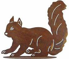 Eichhörnchen Deko Dekoration Edelrost Garten Herbst Eisen Metall 38cm x35cm
