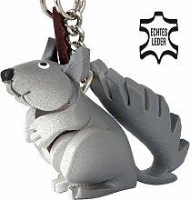 Eichhörnchen Ernie - kleiner Eichhörnchen Schlüssel-Anhänger aus Leder, eine tolle Geschenk-Idee für Frauen und Männer im Wildtier-Zubehör, Nagetier, Eichkätzchen, Eichkater, Eichhorn (Grau mit Kette)