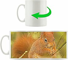 Eichhörnchen mit Futter, Motivtasse aus weißem Keramik 300ml, Tolle Geschenkidee zu jedem Anlass. Ihr neuer Lieblingsbecher für Kaffe, Tee und Heißgetränke.