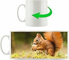 Eichhörnchen mit Nuss, Motivtasse aus weißem