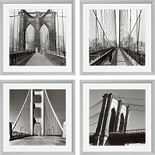 EICHHOLTZ Prints New York Bridges 4-tlg., je 59x59