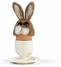 Eierwärmer aus Filz [ Hase / Hasenkopf Brille ] für den fröhlichen Frühstückstisch (der Eierbecher und das Ei sind NICHT Bestandteil dieses Angebots)