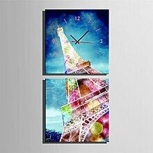 Eiffelturm Wanduhr Rahmenlos Wohnzimmer Restaurant Dekoration Leinwand gemalt Wanduhr , 50*50cm
