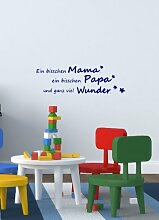 Ein bisschen Mama Papa... Spruch - Wandtattoo Aufkleber Kinderzimmer 50x16cm B274-V (blau)