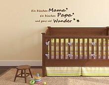 Ein bisschen Mama Papa... Spruch - Wandtattoo Aufkleber Kinderzimmer 50x16cm B274-V (schwarz)