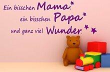 Ein bisschen Mama Papa... Spruch - Wandtattoo Aufkleber Kinderzimmer 50x16cm B274-V (violett)