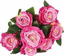 Ein Bündel Künstlichen Rose Seidenblume Pflanze Büro Haus DIY Dekor - Rose Red
