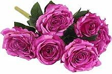 Ein Bündel Künstlichen Rose Seidenblume Pflanze Büro Haus DIY Dekor - Lila