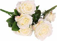 Ein Bündel Künstlichen Rose Seidenblume Pflanze Büro Haus DIY Dekor - Weiß