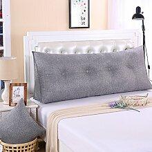 Ein großes Kissen, weicher Baumwolle Sommer Dreieck taille Kissen Bett Büro neckguard Cushion Sofa, 180 x 50 x 20 cm, Rauchgrau