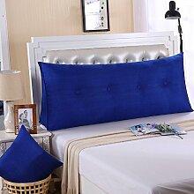 Ein großes Kissen, weicher Baumwolle Sommer Dreieck taille Kissen Bett Büro neckguard Cushion Sofa, 120 x 50 x 20 cm, Navy Blue