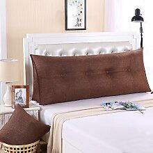 Ein großes Kissen, weicher Baumwolle Sommer Dreieck taille Kissen Bett Büro neckguard Cushion Sofa, 120 x 50 x 20 cm, Kaffee