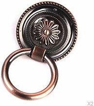Ein Paar Round Knob Blumenmuster Dekorativ Kasten Schublade Tür Pull Dia (55.0, Rot Bronze)