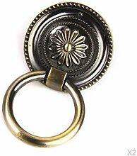 Ein Paar Round Knob Blumenmuster Dekorativ Kasten Schublade Tür Pull Dia (45.0, Bronze)