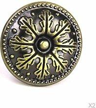 Ein Paar Vintage Round Knob Kabinett Fach Behältertür Retro Zug Handgriff Antike (Bronze)