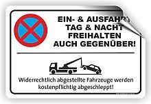 EIN- UND AUSFAHRT AUCH GEGENÜBER - Parken verboten Schild / PV-023 (60x40cm Aufkleber)
