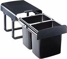 Einbau Abfallsammler 2x16 Liter schwarz ab 40er Schrankbreite Mülleimer Vollauszug