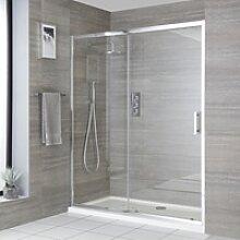 Einbau-Duschkabine mit Schiebetür, Duschwanne in