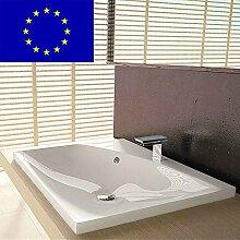 Einbau-Waschbecken 60x50x11,3cm eckig | 60cm Einbau-Waschtisch zum einlassen in eine Platte | Material: hochwertiges Mineralguss | Qualität MADE IN EU