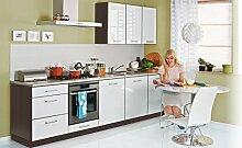 Einbauküche 300cm weiss hochglanz lackiert - ERWEITERBAR - Küche günstig Küchenzeile