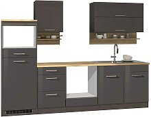 Einbauküchenzeile in Grau Hochglanz 270 cm breit