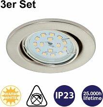 Einbauleuchten Prisma LED 3er Set Nickelmatt