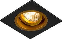 Einbauspot eckig schwarz mit Goldwirbel und