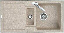 Einbauspüle BALI 60C granit beige eurogranit Siebkorb-Excenter 3 1/2 Zoll