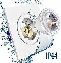 Einbaustrahler Bad IP44 mit GU10 Fassung ECKIG