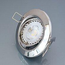 Einbaustrahler M802 inkl. LED 7W Warmweiß Einbaulampe Einbauleuchte Spot Strahler EinbauSpot Strahler GU10 Chrom