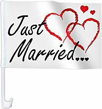 Eine Alsino Autoflagge Autofahne für die Hochzeit 'Just Married' Auto Flagge Fahne, wählen:AFL-10C Just Married Herzen