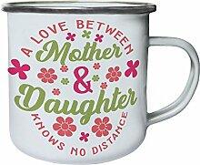 Eine Liebe zwischen Mutter und Tochter kennt keine Distanz Retro, Zinn, Emaille 10oz/280ml Becher Tasse bb198e