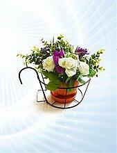 einfach Continental Eisen-Geländer Blumen-Racks, Hängende Orchideen Töpfe Regal, Windowsill Balkon Plant Rack Einfache Blumentopf Regal ( Farbe : Bronze )
