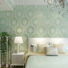 Einfach europäischen Damaskus 3D Tapete Vlies beflockte Tapete Rolle für Wohnzimmer Schlafzimmer TV Hintergrund Wand 0,53m (52,8cm) * 10Mio. (32,8') M = 5.3sqm (M³), Only the wallpaper, Light green 9503