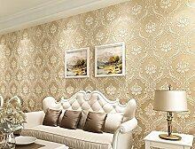 Einfach europäischen Damaskus 3D Tapete Vlies beflockte Tapete Rolle für Wohnzimmer Schlafzimmer TV Hintergrund Wand 0,53m (52,8cm) * 10Mio. (32,8') M = 5.3sqm (M³), Only the wallpaper, Beige 9501