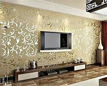 Einfach im europäischen Stil Luxus Schlafzimmer Wohnzimmer TV Hintergrund Wand Tiefenprägung Tapete Tapete, beige