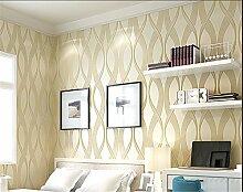 Einfach und modern Vliestapete Tapete 3D TV Stereo Streifen Hintergrund Fashion Wohnzimmer Tapete, beige, 0.5m*10m