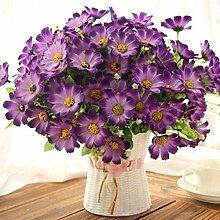 Einfach zu bedienen Wohnzimmer Heimtextilien Simulation Kunststoff gefälschte Blume Set Dekorationen Topf neues Haus Esstisch Tischplatte, Fett Eimer+3 Bündel von Daisy lila JHYFLOWER