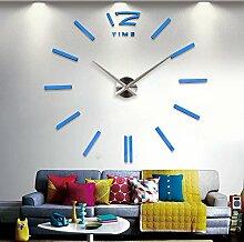 Einfache 3D-Fashion Diy-Clock Watch Art Kreativ Wandspiegel Ruhigen Wohnzimmer Tv Tisch Wanduhr Quarzuhr, Blau (50~70 Cm Im Durchmesser)