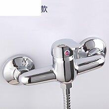 einfache Badezimmer-Dusche-Set/Thermostatischen Armatur heiß und kalt/Kupfer Bad Badewanne Wasserhahn-D