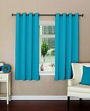 einfache blaue lushomes Öse solide Hauptdécor Vorhänge Verdunkelungs Tür / Fenster drapers - Satz von 2 Stück