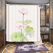 Einfache bunte wasserdichte Schimmel-feste Polyester-Duschvorhang-Badezimmer-wasserdichtes Dekor ( Farbe : Weiß , größe : 180*200cm )